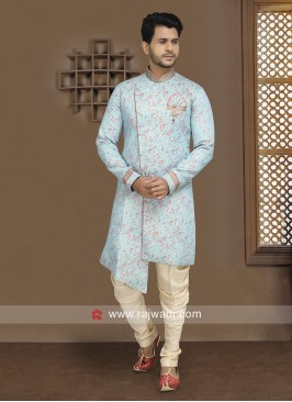 Sky Blue Indo Western For Wedding