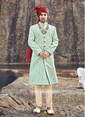 Sky Blue Sherwani with Golden Churidar