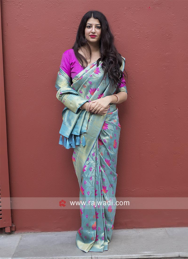 Sky Blue Kanjeevaram Silk Saree