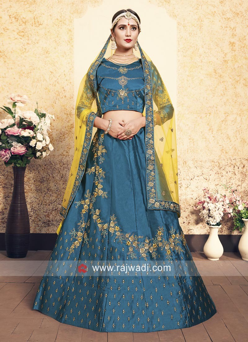Sky Blue Lehenga Choli with Yellow Dupatta