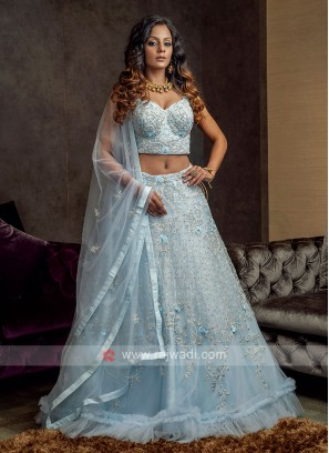 Sky Blue Net Lehenga Choli Suit