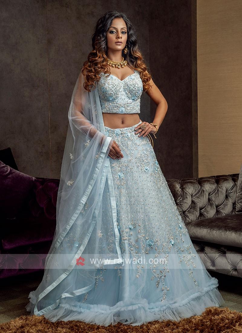 Sky Blue Net Lehenga Choli Suit