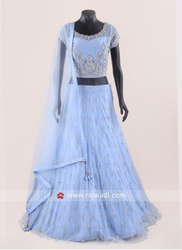 Sky Blue Net Heavy Lehenga Choli