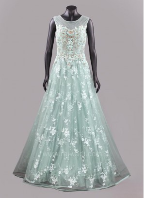 Sky Blue Net Sheer Long Fairytale Gown