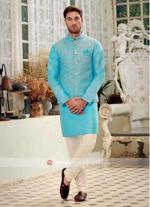 Sky Blue & Off White Nehru Jacket Suit