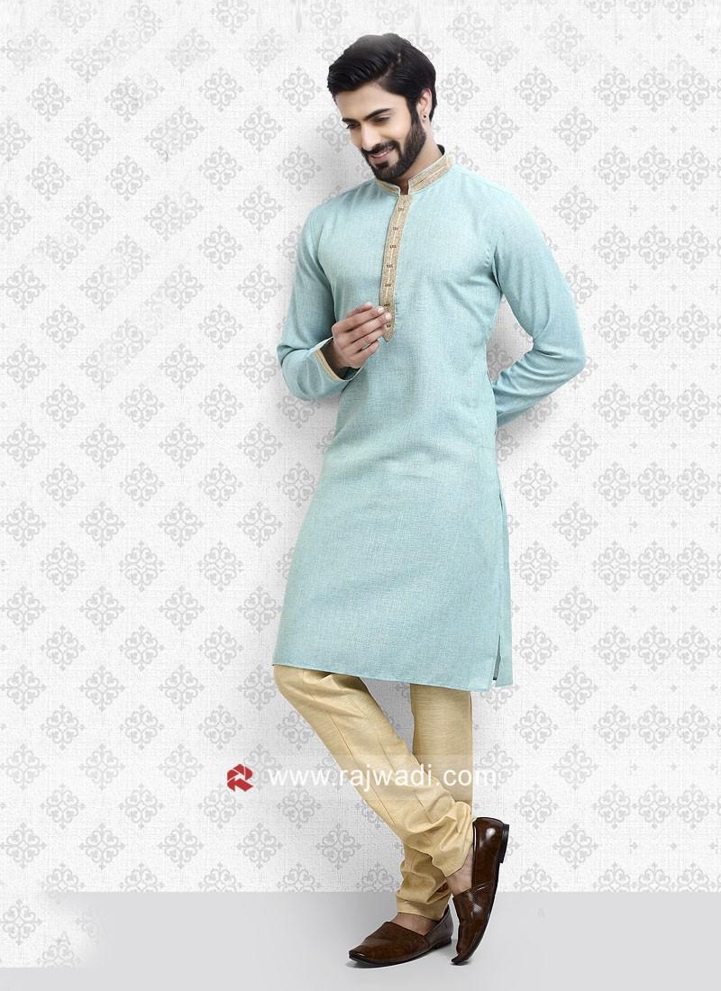 Sky Blue Party Wear Kurta Pajama