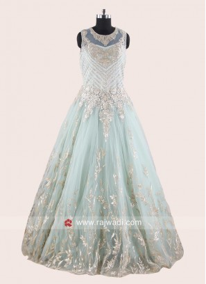 Sky Blue Party Wear Net Gown