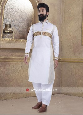 White Pathani Suit with Fancy Button