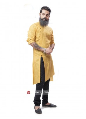 Yellow Pathani Suit with Fancy Button