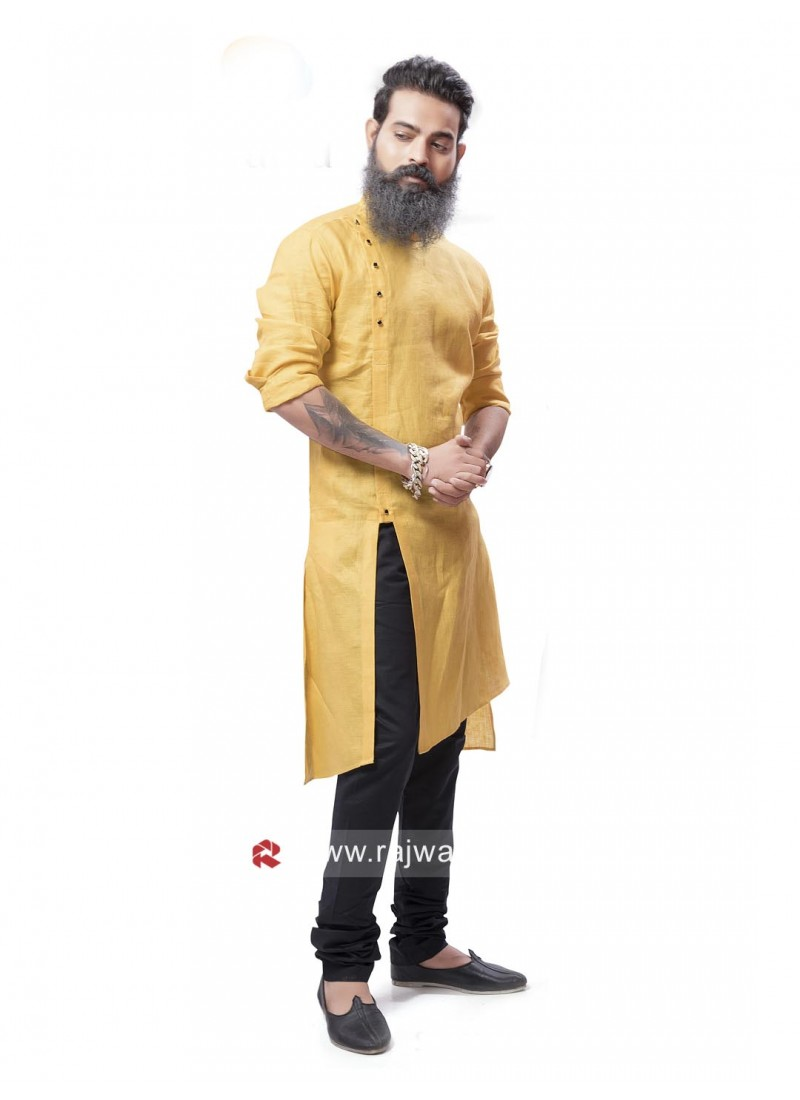 Golden Yellow Pathani Suit with Fancy Button