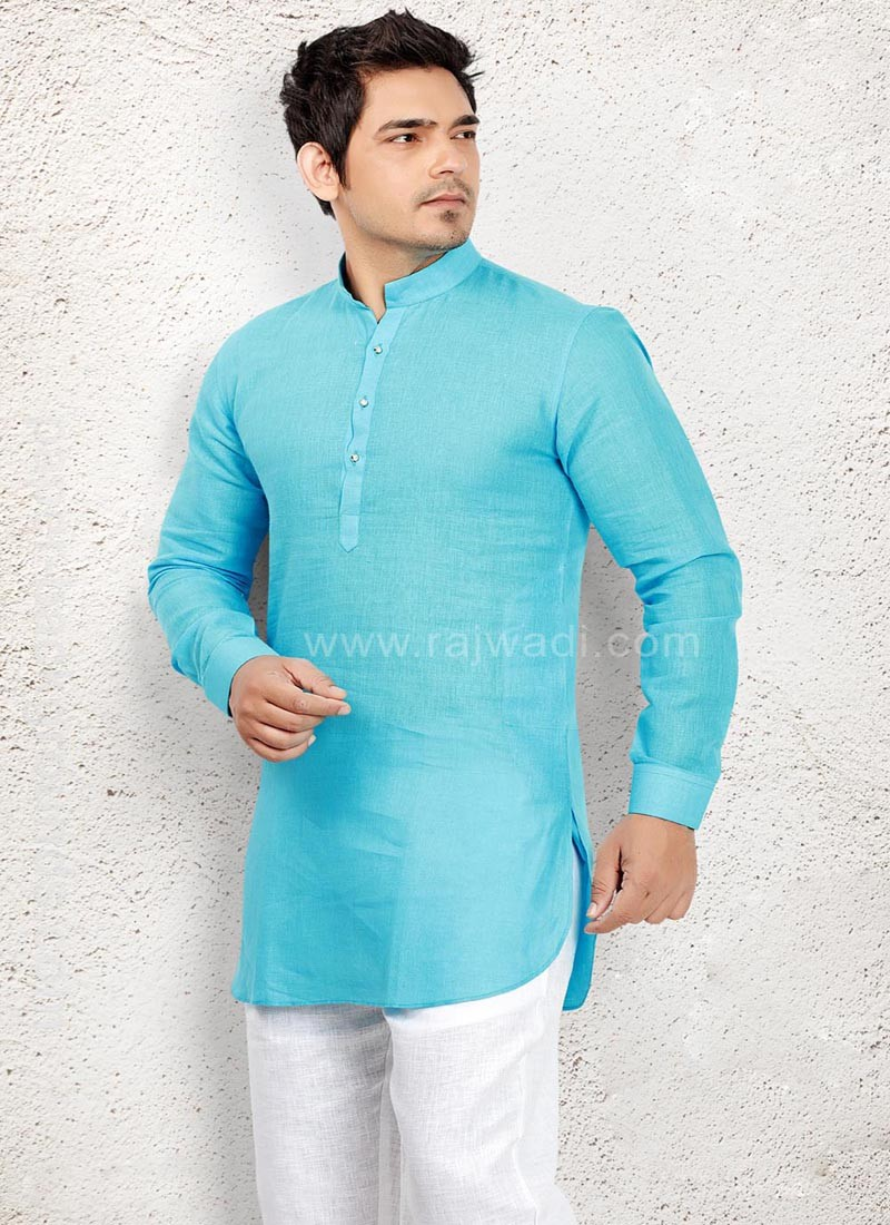 Sky Blue Pathani Suit with Fancy Button