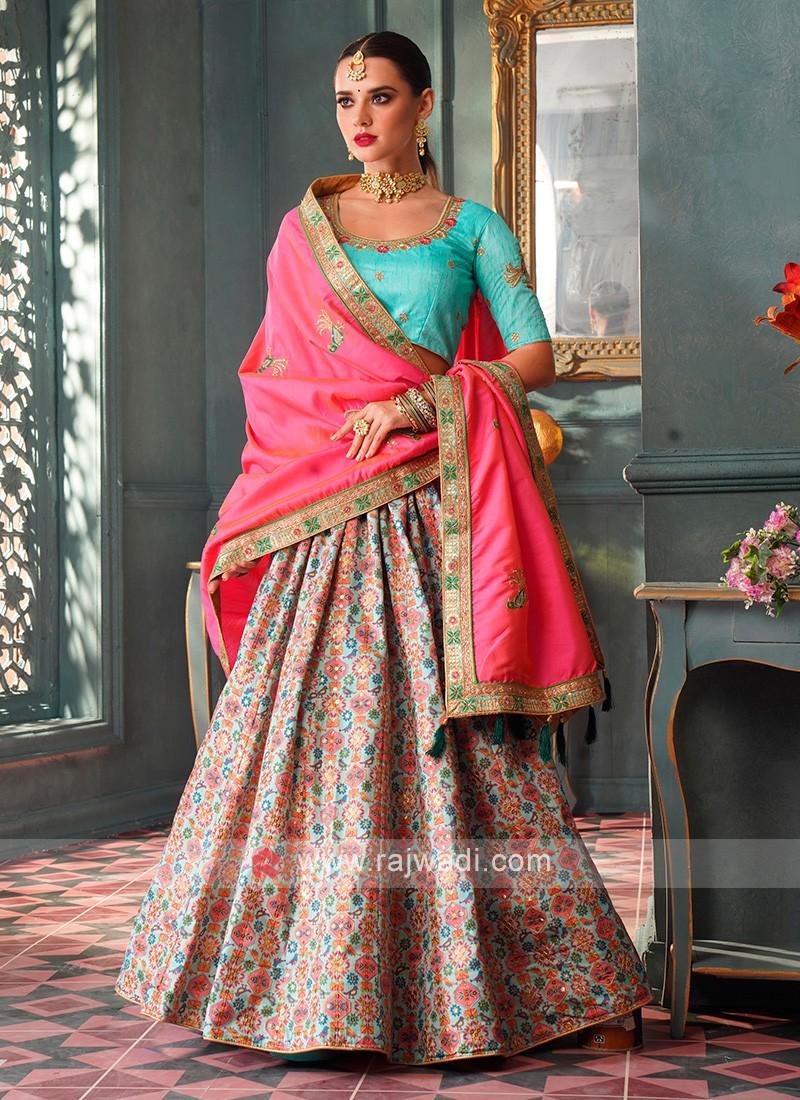 Sky Blue & Pink Color Lehenga Choli