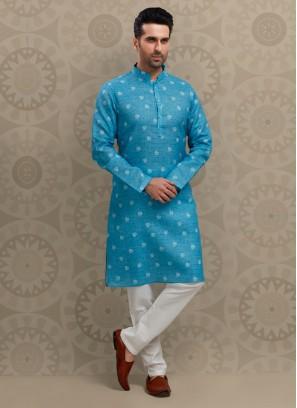 Sky Blue Printed Kurta Pajama