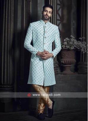 Sky Blue Raw Silk Indo Western Sherwani