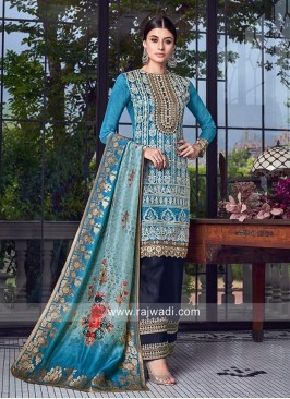 Sky Blue Salwar Suit with Dupatta