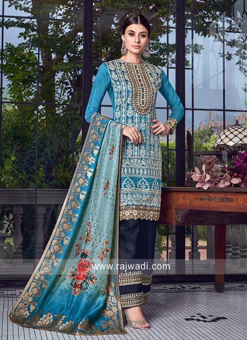 Sky Blue Salwar Suit with Dupatta