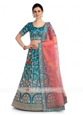 Sky Blue Satin Silk Lehenga Choli