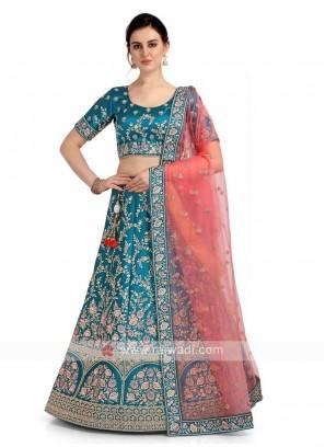Sky Blue Satin Silk Lehenga Choli