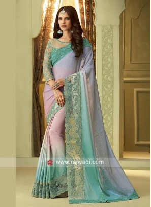 Sky Blue Shaded Party Wear Saree