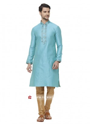 Sky Blue Silk Fabric Kurta pajama