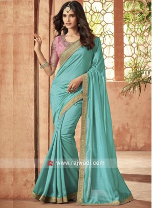 Sky Blue Stone Work Saree