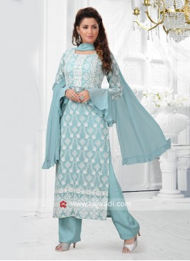 Sky Blue Straight Fit Trouser Salwar Kameez