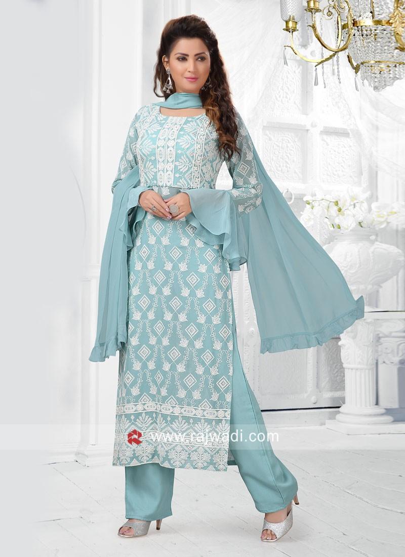 Sky Blue Straight Fit Trouser Salwar Kameez