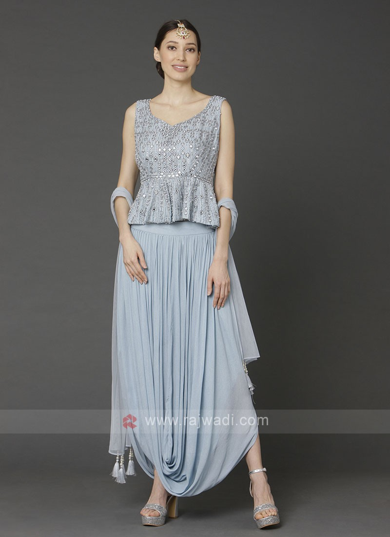 Sky Blue Top With Dhoti Pant