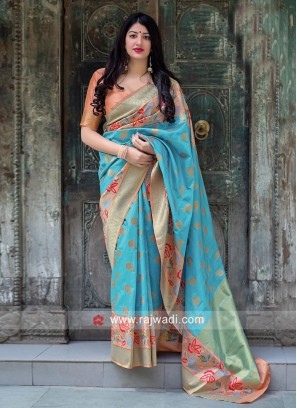 Sky Blue Weaving Saree with Peach Blouse
