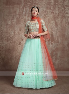 Sky Blue Wedding Lehenga Set