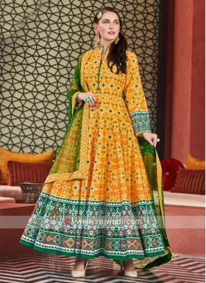 Yellow and Green anarkali Suit With Dupatta