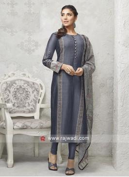 Slate Grey and black Salwar suit