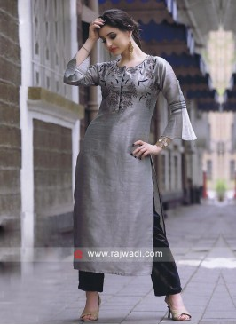 Slate grey and navy blue kurti set