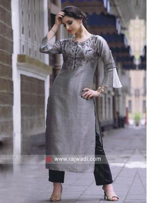 Slate grey and navy blue kurti set