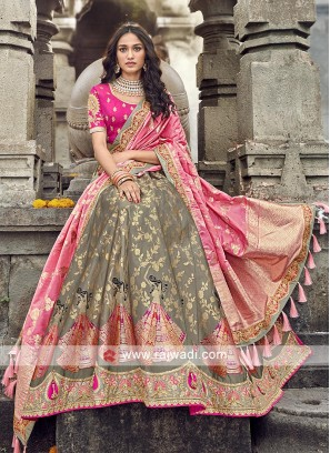 Slate grey and pink lehenga choli