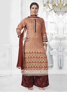 Peach and maroon color palazzo suit