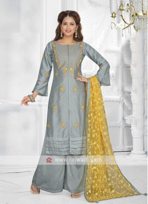 slate grey color palazzo suit