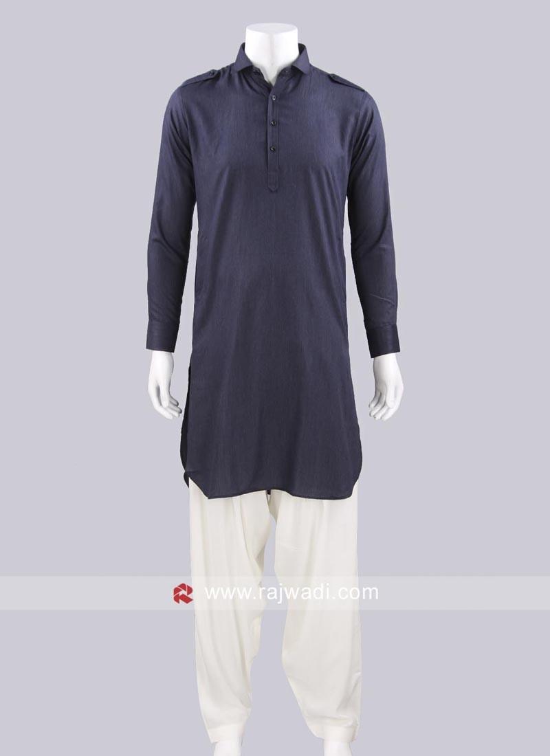 Slate Grey Color Pathani For Eid