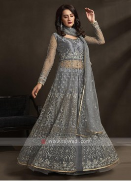 slate grey color salwar suit