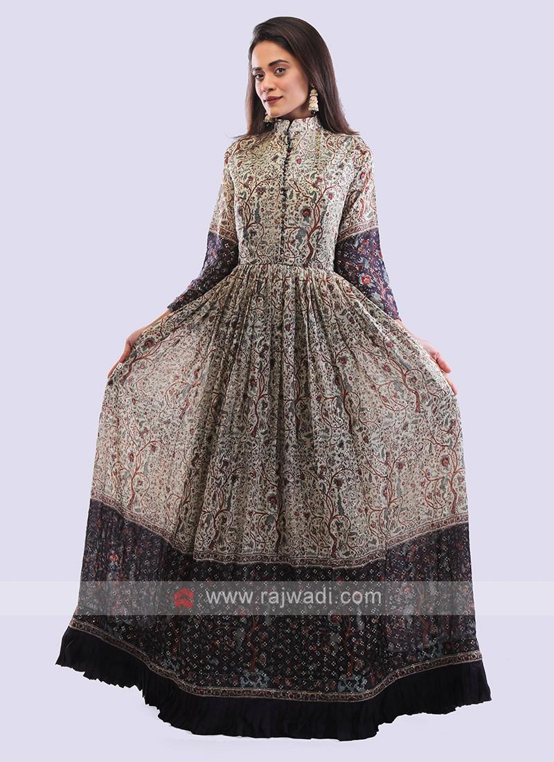 Slate grey crepe silk gown.
