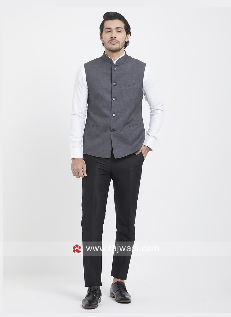 Slate Grey Mens Party Wear Koti