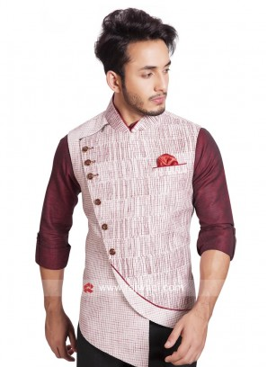 Sleeveless Khadi Silk Off White Color Koti