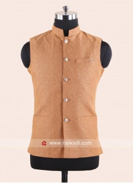 Sleeveless Light Orange Color Koti