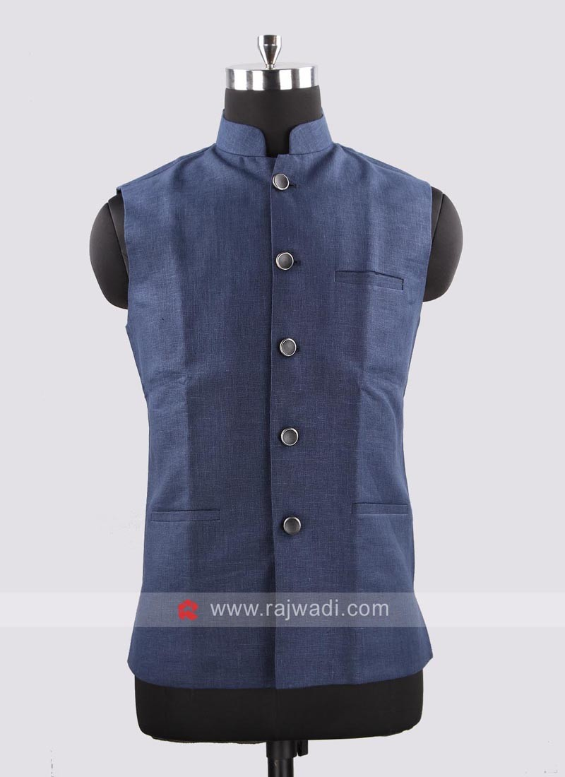 Sleeveless Blue Color Nehru Jacket