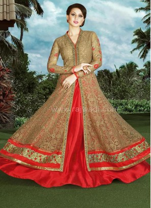 Slit Cut Lehenga Style Net Unstitched Dress Material