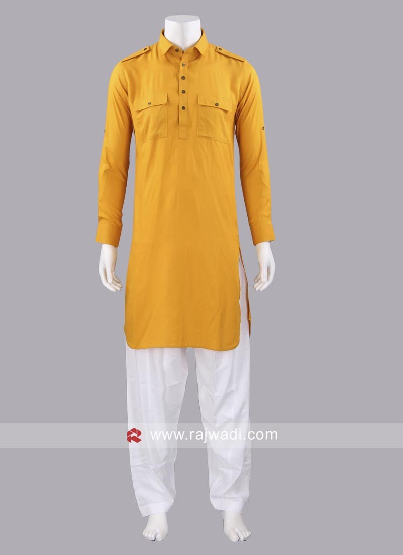 Slub Cotton Fabric Mens Pathani Set