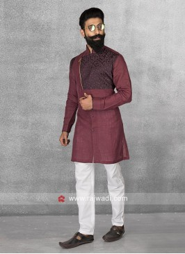 Linen Maroon Color Pathani Set