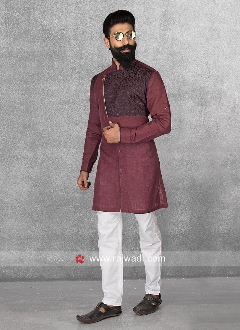 Linen Maroon Color Pathani Set