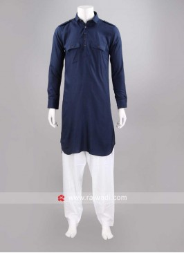 Slub Cotton Navy Pathani Set