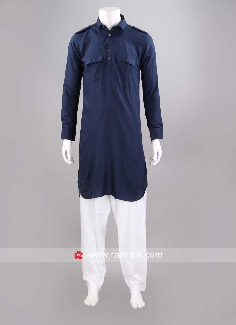 Slub Cotton Navy Pathani Set